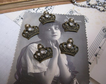 5 gorgeous crown charms with rhinestones and pearls antiqued brass rose and cross