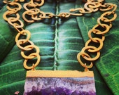 Serenity...  amethyst and gold chain necklace