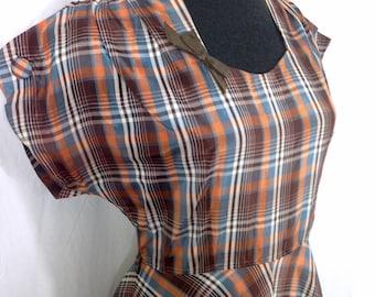 1940s plaid taffeta gown