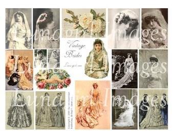 VINTAGE BRIDES digital collage sheet weddings Victorian images photos pictures cards women ladies altered art ephemera DOWNLOAD supplies
