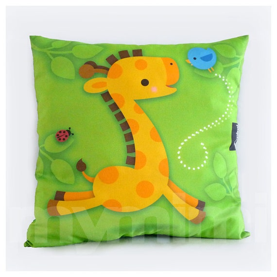 Zoo Animal Pillows : Giraffe Pillow Green Pillow Kawaii Baby Decorative Pillow
