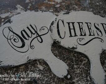 Say Cheese Sign Set. Wedding Photo Prop. Wedding Sign. Photo Props. Photo Booth Props. Rustic Wedding. Shabby Chic Wedding.