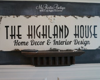 Custom BUSINESS Sign, Elegant Sign, SHABBY CHIC Business Sign, Distressed Business Sign, Home Office Sign,Logo Sign, Vendor Sign