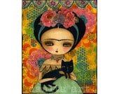 Frida And Her Cat - Giclee Reproduction Of Original Collage Painting By Danita Art (Paper Prints and ACEO Wood Mounted)