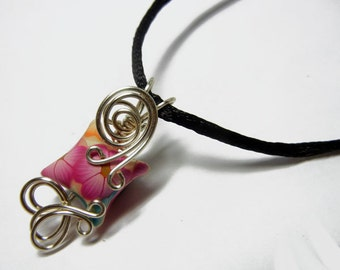 Wire Wrap Polymer Clay Fairy Pillow Pendant with Necklace - Design 8