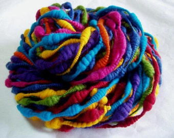 KUNTERBUNT - beehive merino yarn, coiled handspun yarn, art, rainbow, multiclour, knitting, coils, 4.3oz