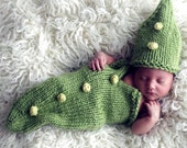 Baby Knitting PATTERN - Green Pea Pod Cocoon Bunting Costume - Crochet Bobble Tutorial