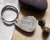 Personalized Stoneware Mountain Key Chain, Made to Order