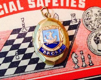 BRORA VINTAGE LOCKET Scottish Souvenir Enamel Shield