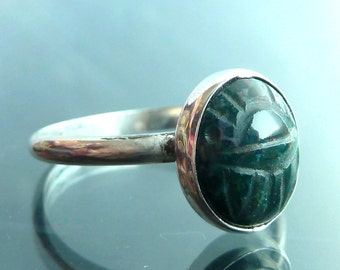 Scarab Beetle Ring Choose Your Own Gemstone carved in sterling silver bug size 5 6 7 8 9 stacker rings