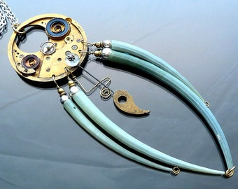 Steampunk Necklace Huge Crab Nebula gears cogs springs watch parts green shell legs Aquamarine orb