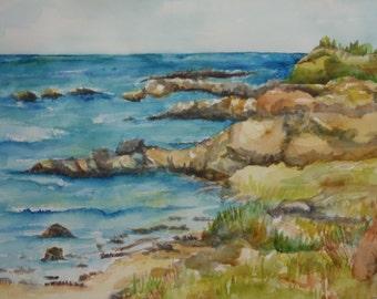 Aruba watercolors paintings original  Seascape painting, 11 x 15, original ocean art, beach watercolor, painting of the sea near Aruba
