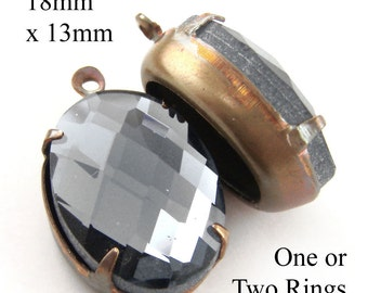 Black Diamond, Glass Beads, Patina Brass Settings, 18mm x 13mm, Oval, Rhinestone, Cabochon Jewels, One or Two Rings, or No Rings, One Pair