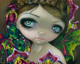 Dragon Orchid fairy art print by Jasmine Becket-Griffith 8x10 flower dragonling big eye