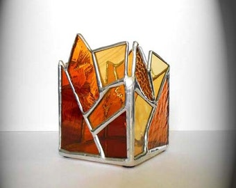 Amber Stained Glass Candle Holder