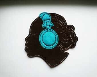 Iron on patch - Lady With Headphones Applique - sew on patch - embroidery - music - brown skinned - African-American