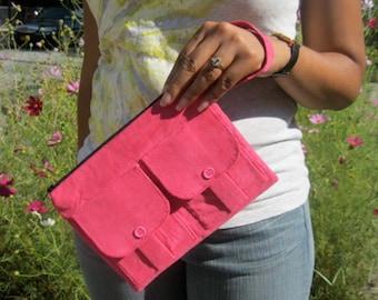 Pink Corduroy Wristlet Wallet, Wristlet Purse, Corduroy Wristlet, Clutch Wristlet, Pink Zipper Wallet,  Dorothy Wristlet Wallet