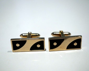 Mid Century Cufflinks - Mens Accessories Cuff Links Vintage Jewelry Gold Black Mod Modern Midcentury Hickok Cufflinks Gift Ideas for Him