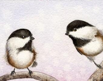 Best Friends - Original Chickadee 4 x 7 Painting