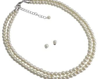Timeless Elegant Bridal Cream Double Stranded Necklace Stud Earrings