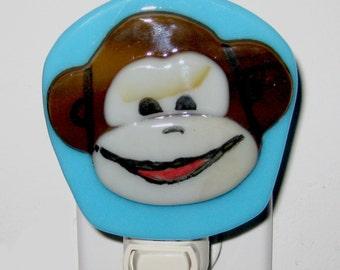 Fused Glass - Night Light - Smiling Monkey
