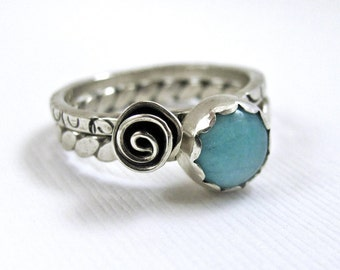 Amazonite and Rosette Flower Stacking RIngs - Sterling Silver & Gemstone