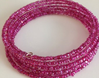 Beaded Bracelet: Pink Glass Seed Beads