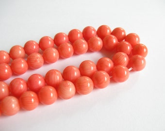 Pink Coral Beads, 7mm, 8mm, Round Coral Beads,