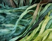 Hand Dyed Ribbon  COSTA VERDE  Dazzle 4 yards