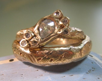 Recycled gold and rose cut diamond ring rustic ring