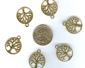 NEW 12 pcs Gold Tibetan Silver Tree of Life Pendants Charms Beads 20mm