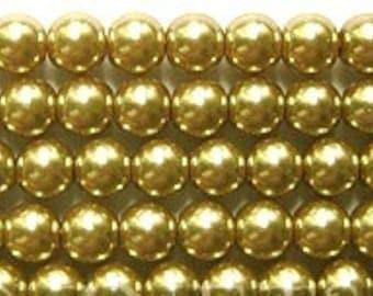 "6mm Elegant Khaki Glass Pearls 15.5""  70 plus pcs"