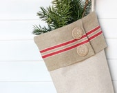 Rustic Christmas Stocking, Linen and Mangle Cloth, Holiday Decor - BailiwickStudio