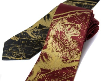 Leo the Lion, Zodiac necktie. Leo constellation tie. Star chart men's tie. Gold lion print. 100% silk.