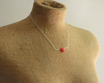 Red Triangle Necklace on Short Sterling Silver Chain for Simple Everyday Design