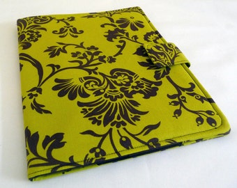 iPad 1 Cover in Chartreuse and Brown Floral, Soft Book Style Tablet Case