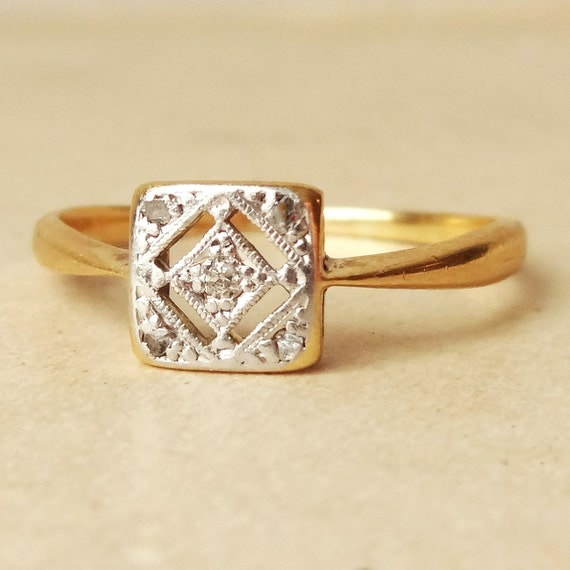 Art Deco Geometric Square Diamond Ring Antique Engagement