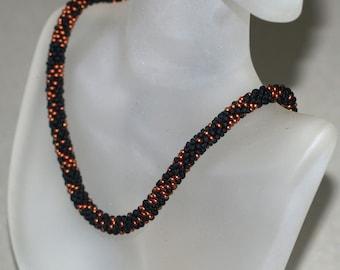 Shyama ... Bead Crochet . Choker . Necklace . Jet Black Seed Beads . Dark Copper . Metallic Necklace . Chic Neckwear . Handmade Jewelry