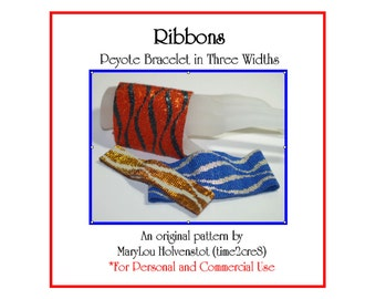RIBBONS ... Peyote Bracelet Pattern in Three Widths . Feminine . Two Color . Jewelry . Make It Yourself . Wide Cuff . Instruction . 3 for 2