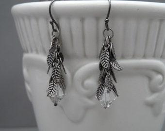 Silver Leaf Drop Crystal Dangle Earrings, Dangle Earrings, Long Earrings, Crystal Earrings