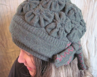 Eco Friendly Handmade Wool Hat/Green Wool Hat/Reclaimed Sweater/Upcycled Sweater Cloche Hat