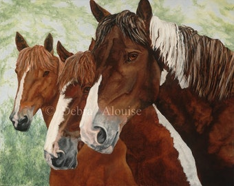Friends Stay Close Horses Paint Horse with Herd Original Painting Art Print by California Artist Debra Alouise