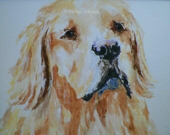 Loving Golden Retriever Dog Watercolor Art Original Painting Canine Sketch Illustration by Artist Debra Alouise