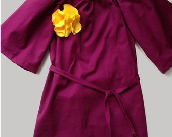 Purple Toddler Long Sleeve Dress with Flower