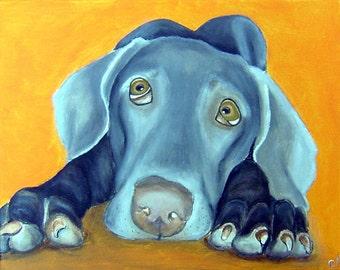 Fine Art Print -Blue Weimaraner Dog by Carol Iyer