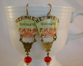 Chocoholic - Vintage Hand Cut Hershey's Chocolate Fan Tin Recycled Repurposed Jewelry Earrings