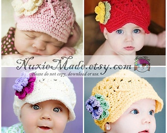 Baby Hat 3-6 months, Choose Your Color Hat, Custom Color Baby Hat, Hat for Baby, Baby Hat with Flowers, Girls Baby Hat, Girls Hat, Child Hat