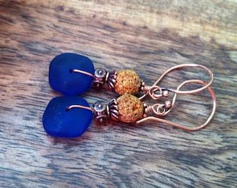 Beach glass and mustard lava earrings