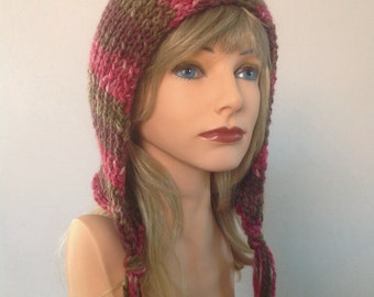 Hand Knit Pixie Hood - Fall colored knit hat