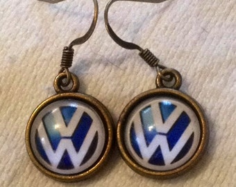 VW Earrings (Volkswagen) choice of  4 metals & 4 colors!!!